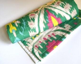 ORGANIC Baby Quilt - Tribal Ikat, Modern, Kids, Bedding - Geometric Hot Pink, Emerald Green and Yellow, Nursery Decor