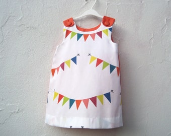 The Dixie Dress - organic toddler girls dress rainbow flag bunting with orange / eco friendly summer carnival fair fashion (made to order)