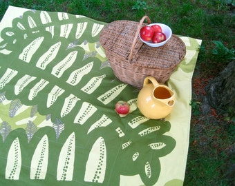 Picnic Blanket- MARIMEKKO Picnic Blanket- Green Fern Leaves- Modern Decor (Last One)