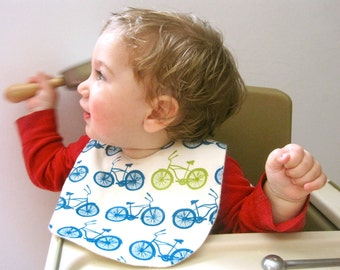 Organic BABY BIB Bicycles - Summer Bikes Blue Feeding Drooling Bib for Boys and Girls