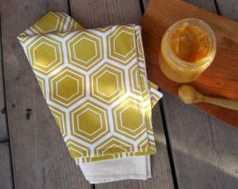 ORGANIC Baby Burp Cloths in Fall Gold Honey Bees Set of 2 for Modern Eco Friendly Kids