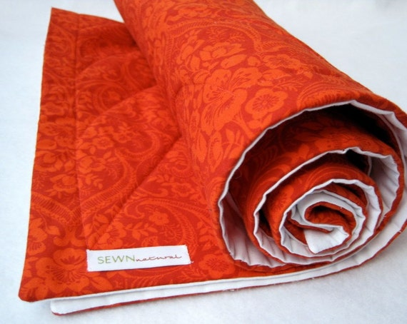 As Seen in Style At Home Magazine - ORGANIC baby quilt in sienna red damask / eco luxe kids bedding (ready to ship)  SALE