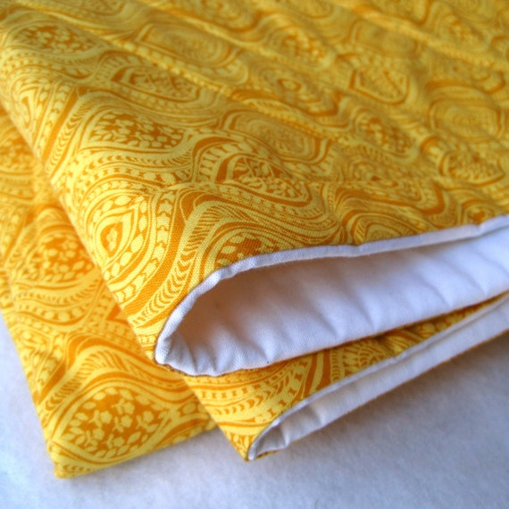 organic baby bedding quilt in modern eco friendly golden honey yellow (READY TO SHIP)