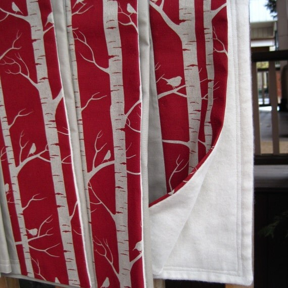 organic baby and toddler blanket \/ rustic birch trees and birds in garnet red