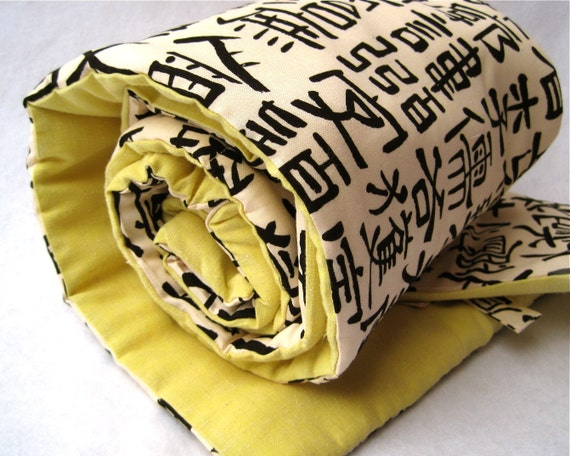 SALE - Toddler nap mat / eco friendly modern sleep pad in Japanese Asian calligraphy/ Last 1 (Ready to ship) - SALE