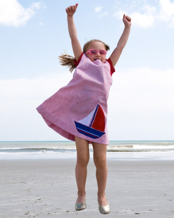 The Sailor Dress- Girls Summer Dress- Beach Dress with Ship- Eco Friendly Kids (Ready to Ship Size 5T 6T)