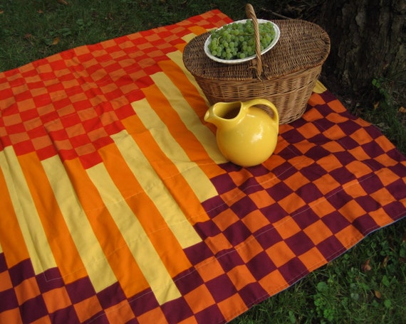 As Seen in Romantic Homes Magazine / marimekko picnic blanket in modern geometric autumn squares (READY TO SHIP)