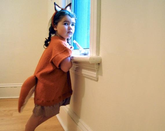 upcycled girls fox costume dress / handmade for halloween