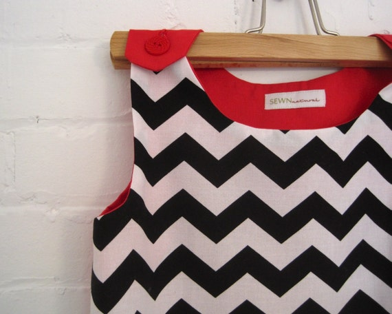 chevron girls dress handmade in mod black and white (limited edition)
