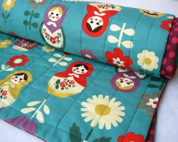 matryoshkas baby turquoise quilt / Russian nesting dolls bedding (limited edition) READY TO SHIP