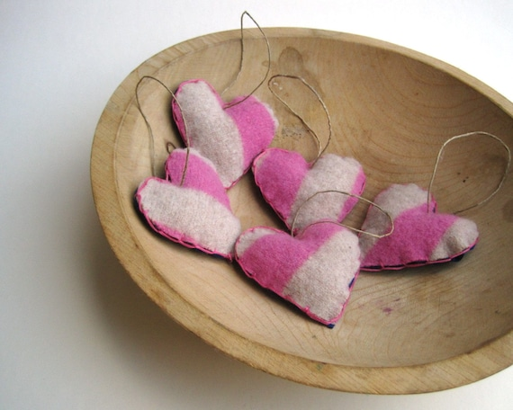 eco friendly heart felts ornaments decor set of 5 / striped candy pink and cream