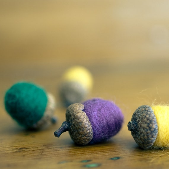 Felted Acorns Wool Decor SET of 9 - Golden Summer in Lemon, Purple and Forest Green - Eco Friendly Decorations