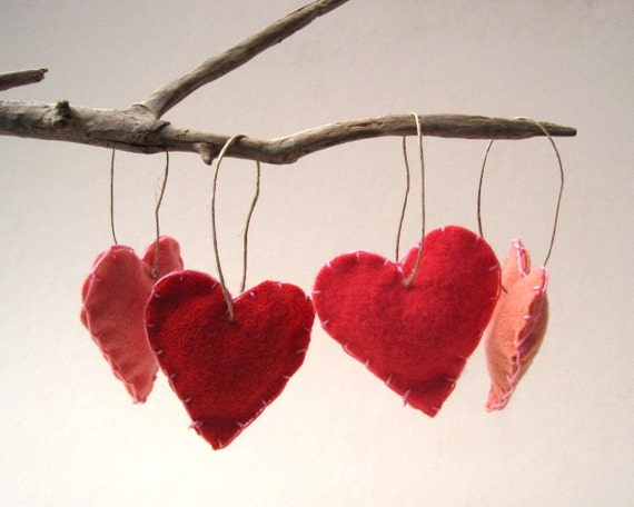 pretty in peach heart felts ornaments set of 4 / love decorations in pink
