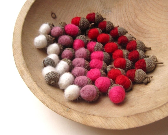 Reserved for Kate - Valentine's Day Felted Acorns Love SET of 40 / Eco Friendly Home Decor in Red Pink White- and ready to ship