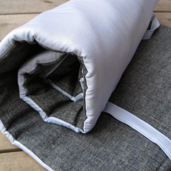 sky blue sateen organic preschool nap mat / handmade modern eco kids essential for school (Made to Order)