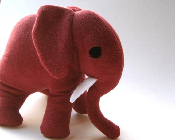 Organic Stuffed Elephant Toy in Marsala Red- GIANT Stuffed Animal - Organic Baby Toy, Eco-Friendly Modern Kids