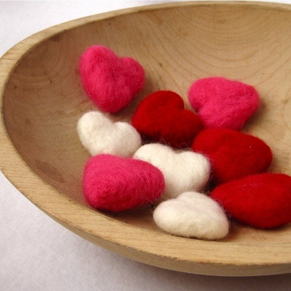 Felted Heart Love Pebbles - Wool Valentine's Day Decorations - Spring Wedding Decor / Set of Nine 9 in White, Red, Pink by SewnNatural