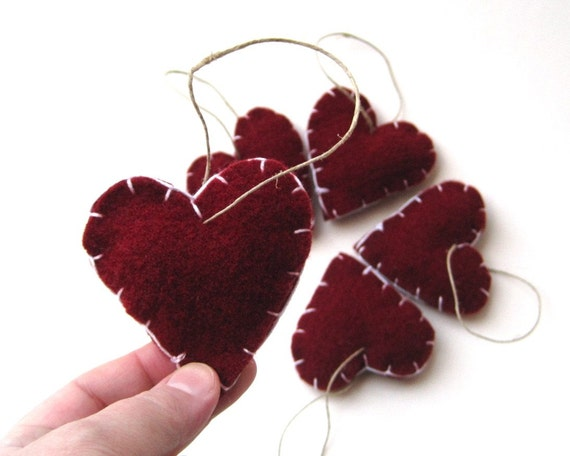 ornaments red heart felts love decorations SET of 5 / eco friendly home and weddings decor (last one)