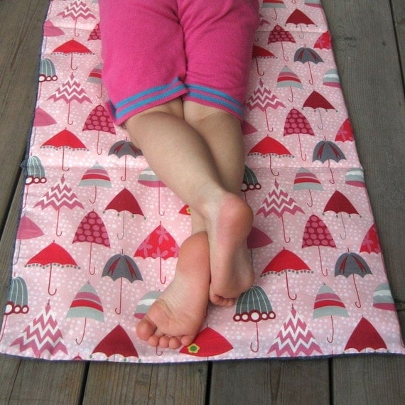 Toddler NAP MAT Eco-Friendly Non-Toxic for Preschool - Pink Umbrellas for Modern Girls with Organic Denim (Last 2)