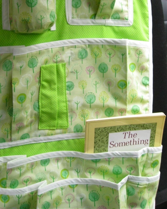 kids car seat organizer pockets / travel accessory in green trees / all-natural handcrafted organization
