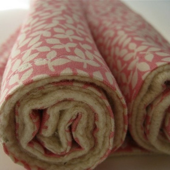 Organic Baby Burp Cloths PAIR in Dusty Rose Flowers / Eco-Friendly Pink for Modern Kids (Ready to Ship)