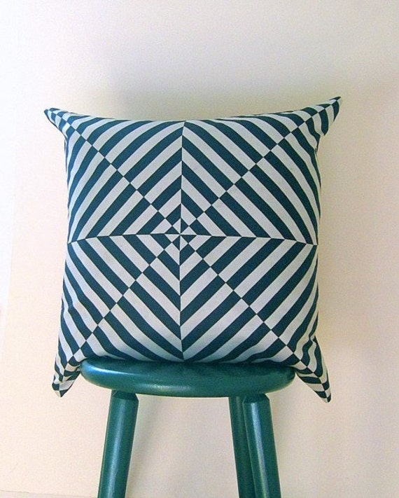vintage Vera silk pillow sham cover / upcycled and handmade mod geometric black and white home decor