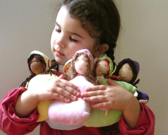 SALE organic waldorf doll / handmade eco friendly bunting cuddle toy (ready to ship)