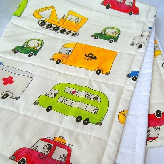 organic baby quilt in white mod traffic cars / eco friendly bedding in vehicles autos (LAST 1)