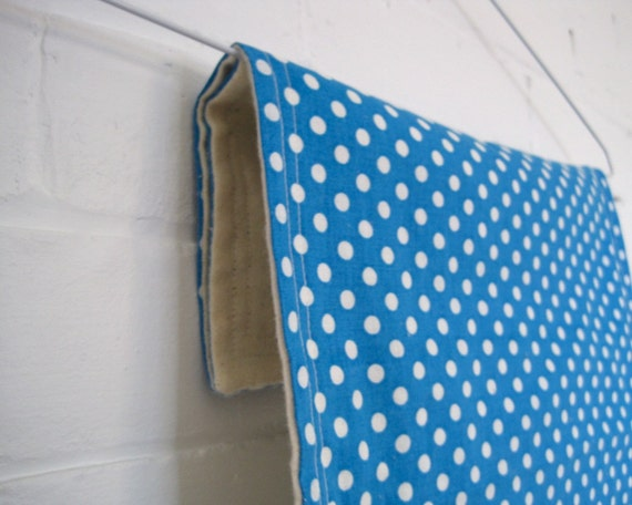 SALE - Retro Baby Burp Cloths Set of 2 in 1950s royal blue sapphire and white geometric polka dots with organic cotton flannel (LAST ONE)