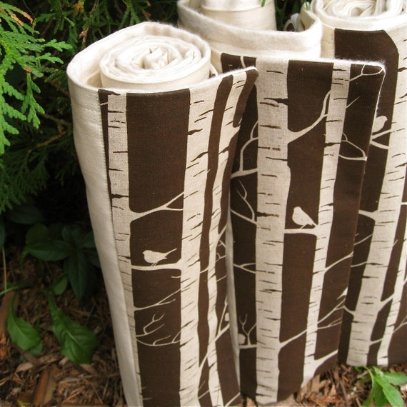 RESERVED - Organic Baby Blanket in Brown Wooland Forest Birch Trees and Birds - Rustic Kids Bedding (last one)