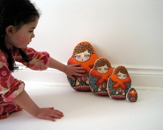 Matryoshkas DOLLS Set of 4 Plush Eco Friendly Stuffed Toys - Sweet Softies - Baby Girls Nusery Decor Pillows in Orange