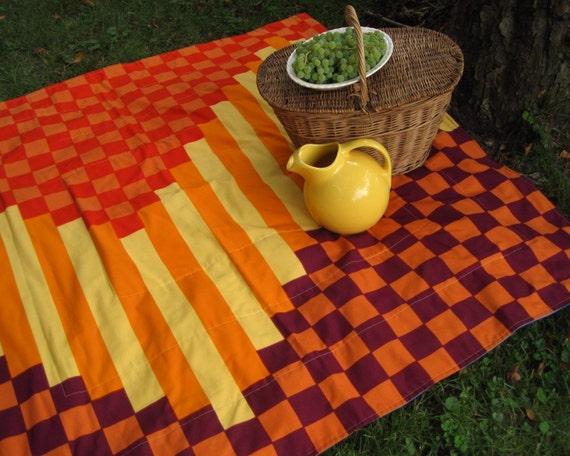As Seen in Romantic Homes Magazine - PICNIC blanket in rare Marimekko geometric purple orange gold for alfresco dining (fabric out of print)