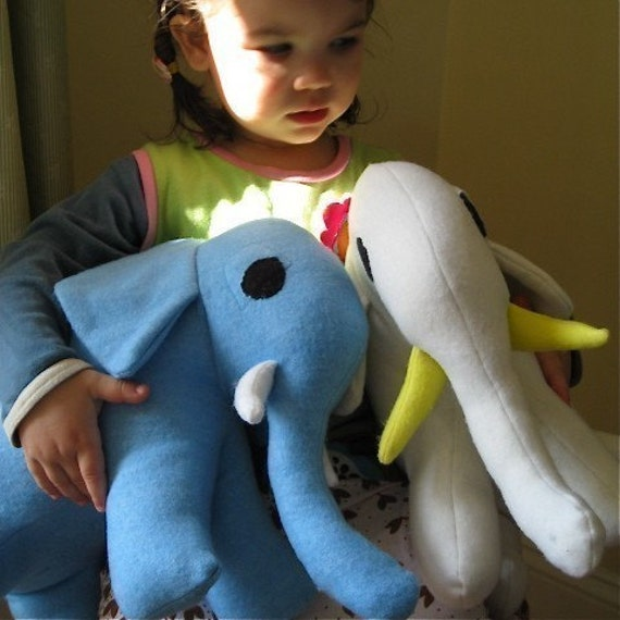 Stuffed Elephant Toy in Cotton and Wool- Benjamin the Blue Elephant- Large Stuffed Animal, Kids Toy