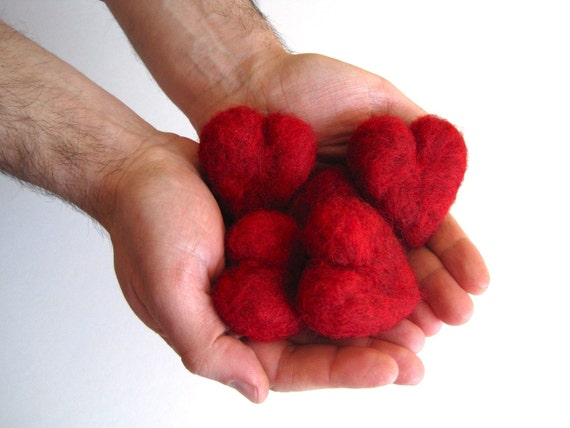 Handful of Red Hearts Wool Pebbles - SET of 5 Five in Deep Red Garnet - Father's Day Love and Wedding Decor