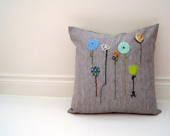 custom embroidered pillow sham / personalized handmade to order and part of our hope embroidery series