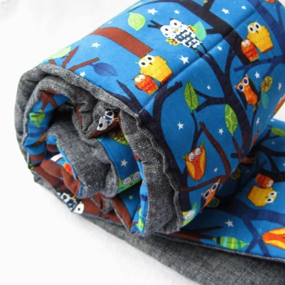 nap mat eco friendly toddler sleeping pad napmat / sleepy owls in trees for preschool daycare (Ready to Ship)