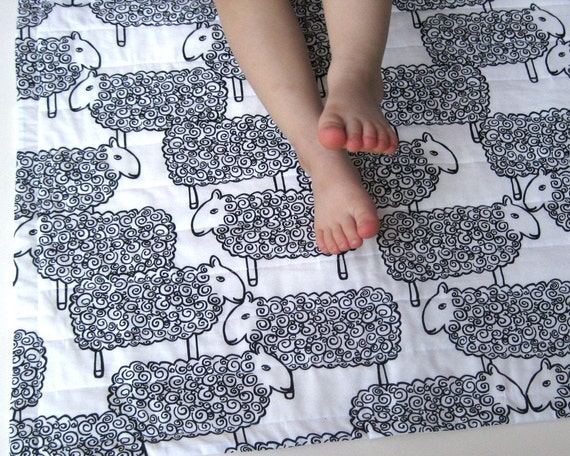 Reserved for shinyfinds - Sheep organic baby quilt with black white lambs / handmade eco friendly (limited edition)