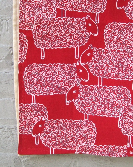 Organic Sheep Baby Blanket in Red and White - Eco Friendly Modern Kids Blanket (limited edition)