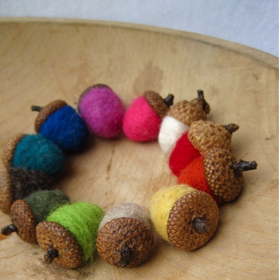wool acorns felted rainbow SET of 12 / rustic eco friendly table and wedding decor - hostess favours gift