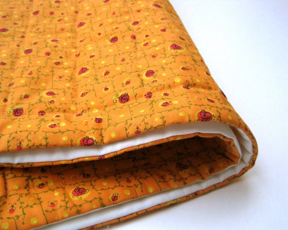 organic BABY QUILT - orange modern kids bedding / eco friendly summer ladybug picnic