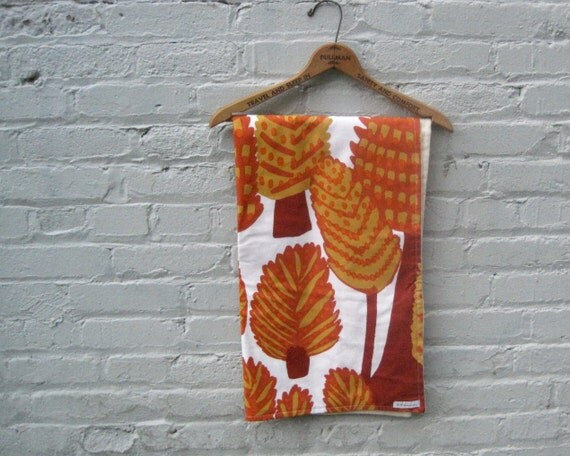 Organic Baby Blanket / Marimekko rust orange eco friendly mod handmade rustic bedding (ready to ship)