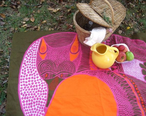 Picnic Blanket / Marimekko eco friendly autumn woodland mod fox (READY TO SHIP)