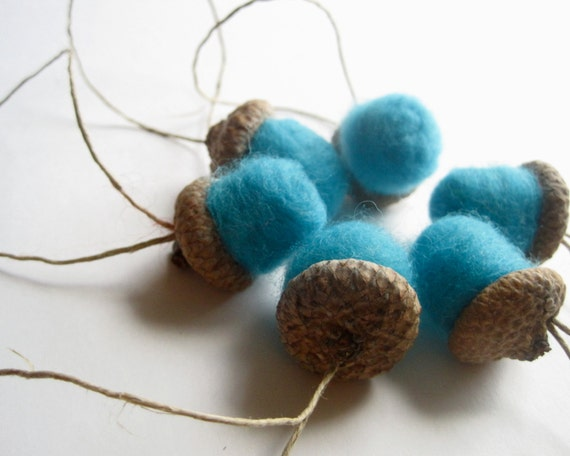 Giant Felted Wool Acorns - Christmas Ornaments SET of 6 - Winter Home Decor in Turquoise Blue - Tree Decorations