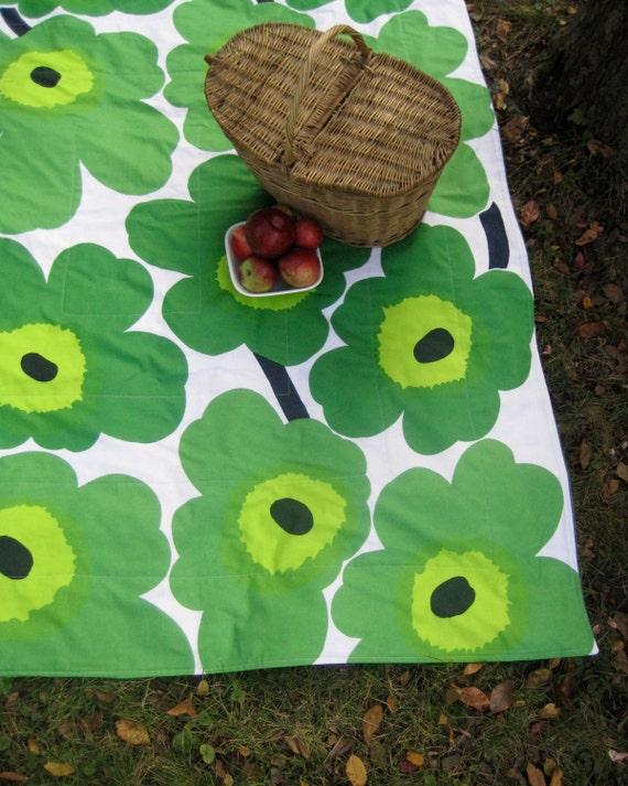 Marimekko PICNIC Blanket - Summer Beach Outdoors Food Blanket in Grass Lime Green Giant Flowers Poppies (Last 1) Wedding Gift Idea