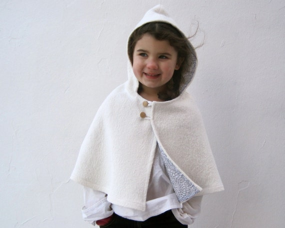 Reserved for 11a416   Cape girls white boiled wool capelet hood size 3T to 5T  and Custom felted wool fox halloween costume