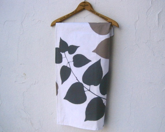 modern baby blanket ORGANIC / Marimekko mod leaves in gray and taupe- eco friendly baby shower gift (ready to ship)