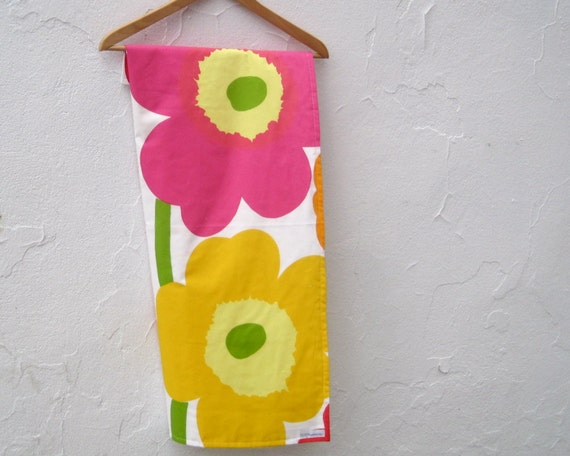 baby blanket ORGANIC Marimekko bedding / spring pink yellow flowers - eco friendly baby shower gift (Last One)