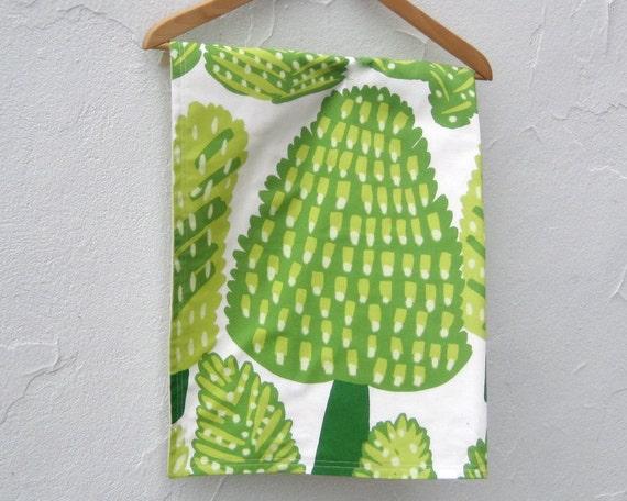 Organic Baby Blanket / Marimekko green woodland pine trees eco friendly mod kids bedding (Ready to Ship)