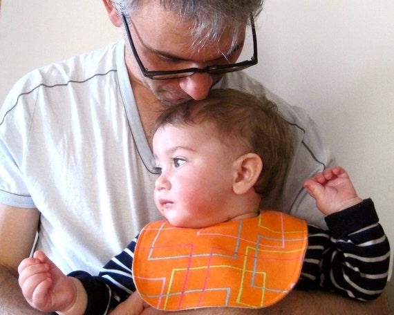 BABY BIB Marimekko - Toddler Bib in Geometric Orange with Organic Flannel - for Modern Eco Friendly Kids LAST 1