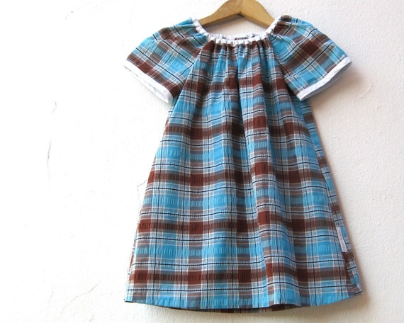RESERVED - The Ramona Dress - Girls Summer Dress in Blue and Brown Plaid 5T / Handmade with Upcycled 1970s Vintage Gingham Seersucker